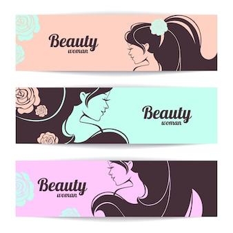 Banners met stijlvol mooi vrouwensilhouet in pastelkleuren
