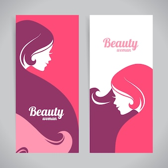 Banners met stijlvolle mooie vrouw silhouet. sjabloonontwerpkaarten