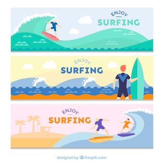 Banners met surfen scènes