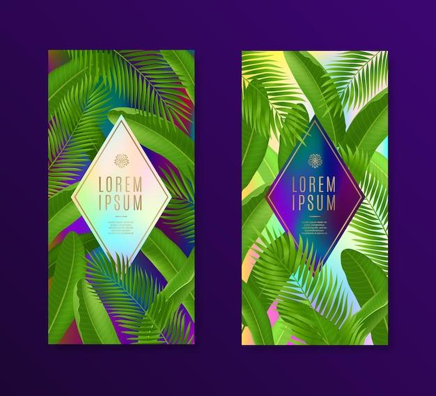 Banners met tropische bladeren en frame voor tekst of bericht