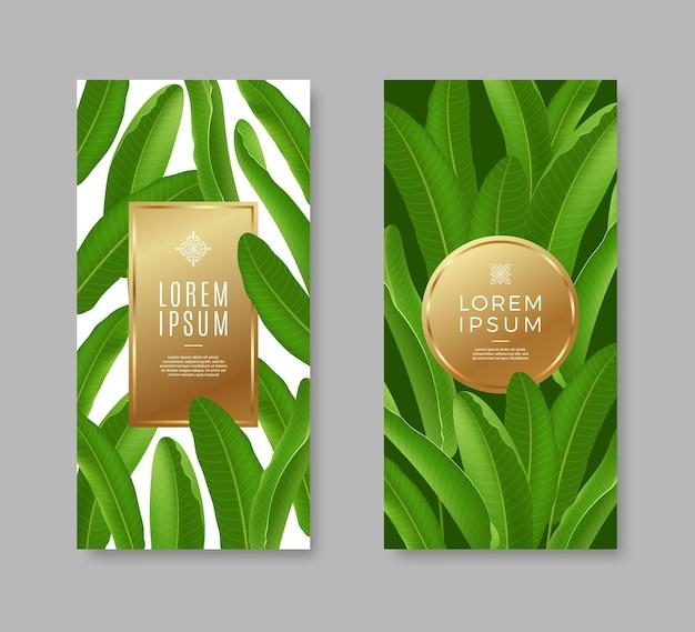 Banners met tropische bladeren en gouden frame voor tekst of bericht