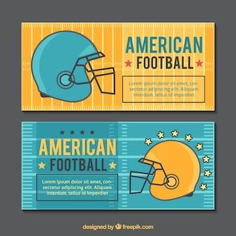 Banners met voetbal helm