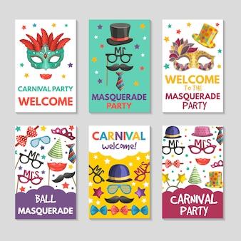 Banners of kaarten die met illustraties van grappige hulpmiddelen worden geplaatst