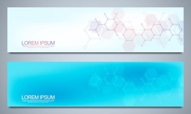 Banners ontwerpen sjabloon en headers voor site met moleculaire structuren.