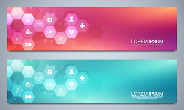Banners ontwerpsjabloon voor gezondheidszorg en medische decoratie met plat pictogrammen en symbolen. wetenschap, geneeskunde en innovatie technologie concept.