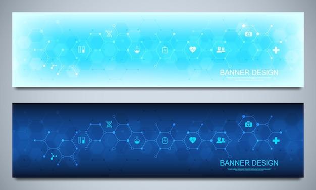 Banners ontwerpsjabloon voor gezondheidszorg en medische decoratie met platte pictogrammen en symbolen