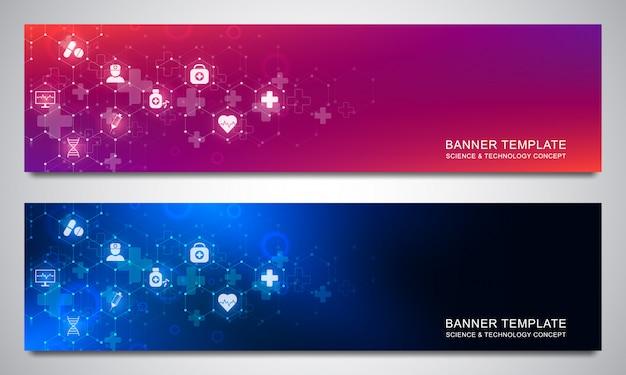 Banners ontwerpsjabloon voor gezondheidszorg en medische decoratie met vlakke pictogrammen en symbolen. wetenschap, geneeskunde en innovatietechnologie concept.
