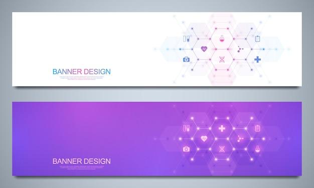 Banners ontwerpsjabloon voor gezondheidszorg en medische decoratie