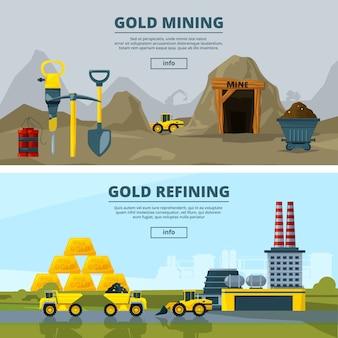 Banners set met mijnbouw
