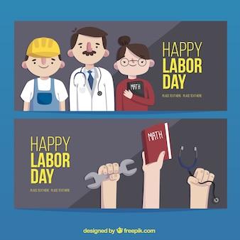Banners set van de dag van de arbeid beroepen