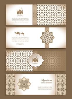 Banners set van etnische ontwerp religie abstracte set
