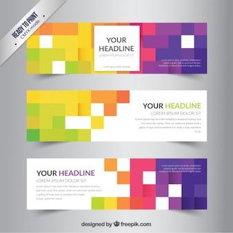 Banners sjabloon met kleurrijke pixels