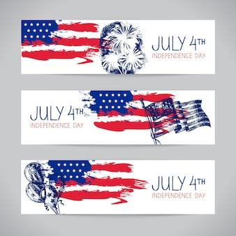 Banners van 4 juli achtergronden met amerikaanse vlag. onafhankelijkheidsdag handgetekende schetsontwerp