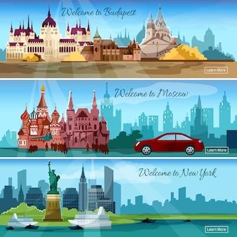 Banners van beroemde steden