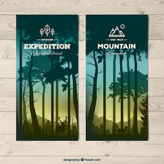 Banners van bos in realistische stijl