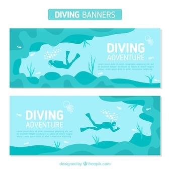 Banners van de duiksport