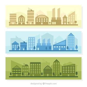 Banners van de steden in verschillende kleuren