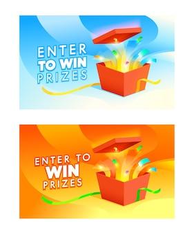 Banners van enter om prijzen te winnen