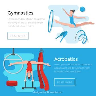 Banners van gymnastiek en acrobatiek