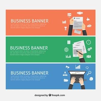 Banners van het bedrijfsleven met kantoorbenodigdheden