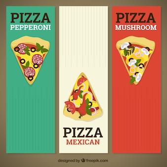 Banners van kleuren italiaanse vlag met pizza stukken