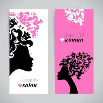 Banners van mooie vrouwensilhouetten met bloemen. schoonheidssalon ontwerp. vector illustratie