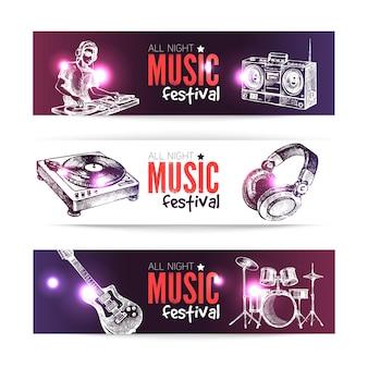 Banners van muziekontwerp. set hand getrokken schets dj achtergronden. vector illustratie