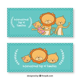 Banners van schattige leeuwen voor de internationale dag van het gezin