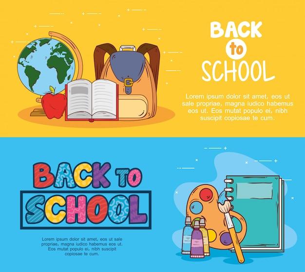 Banners van terug naar school, met onderwijsvoorraden