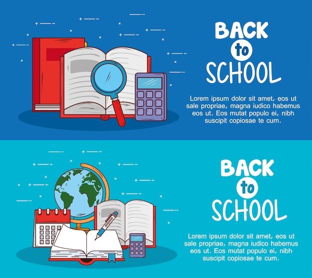 Banners van terug naar school met pictogrammen voor het onderwijs van benodigdheden