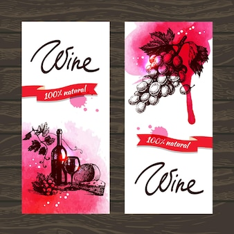 Banners van wijn vintage achtergrond. handgetekende aquarelillustraties