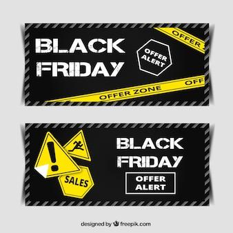 Banners van zwarte vrijdag met goede deals