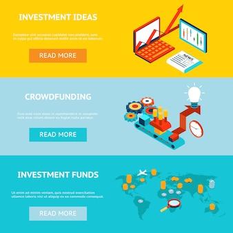 Banners voor bedrijfsinvesteringen. crowdfunding, investeringsideeën en investeringsfondsen. concept strategie, marketing en financiering, financiële investeerder, vector illustratie