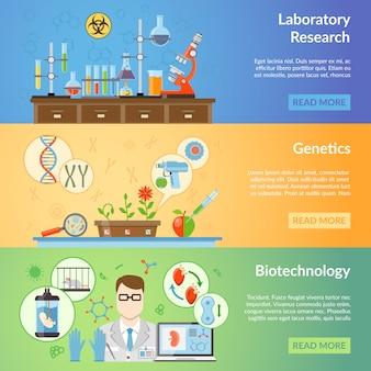 Banners voor biotechnologie en genetica