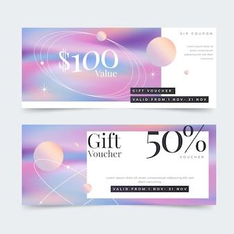 Banners voor cadeaubonnen met kleurovergang
