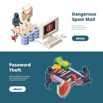 Banners voor cyberbeveiliging. hacker aanval spam e-mail virussen stelen geld online informatie gegevensbescherming vector isometrische afbeeldingen. cyber hacken geld, aanval en fraude, virus in netwerk illustratie
