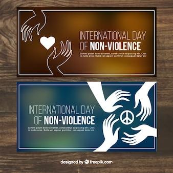 Banners voor de dag van de geweldloosheid met onscherpe achtergronden