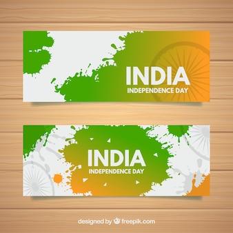 Banners voor de onafhankelijkheidsdag van india met vlak ontwerp