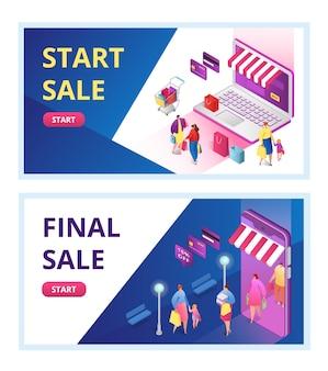 Banners voor definitieve verkooppromotie, einde van seizoen, kortingsaanbieding,. opruiming start verkoop voor online winkel, e-commerce. mode winkel discounter promo webbanner.