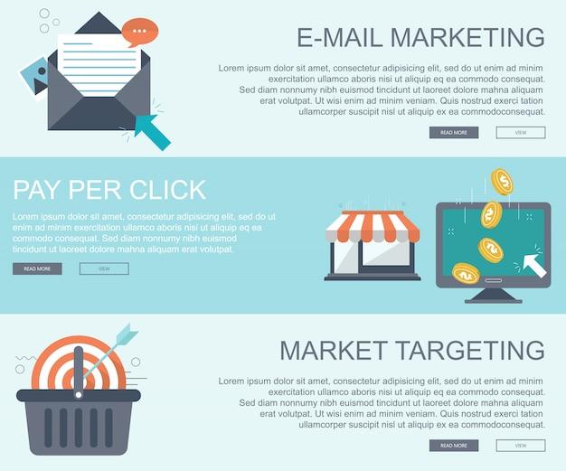 Banners voor e-mailmarketing, pay-per-click en markttargeting