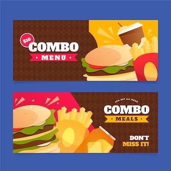 Banners voor fastfoodcombinaties