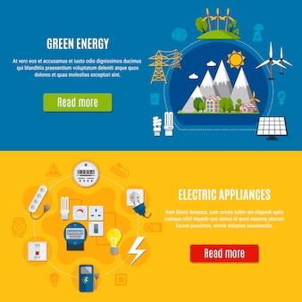 Banners voor groene energie en elektrische apparaten