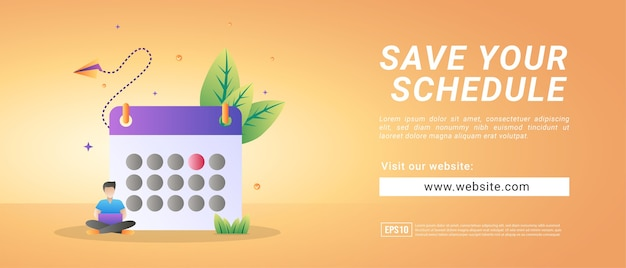 Banners voor het introduceren van websites om dagelijkse schema's vast te leggen. banners voor promotiemedia