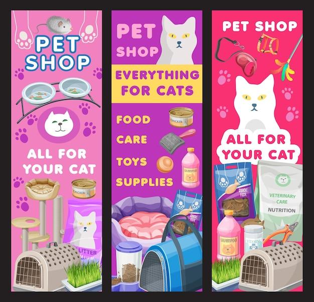 Banners voor kattenverzorging en dierenwinkels, goederen voor het verzorgen en voeren van kittens. vectoradvertentie-promokaarten voor dierentuinmarktservice, binnenlandse katachtige dierenartikelen, speelgoed, voedsel, benodigdheden, kommen en nagelslijper of bed
