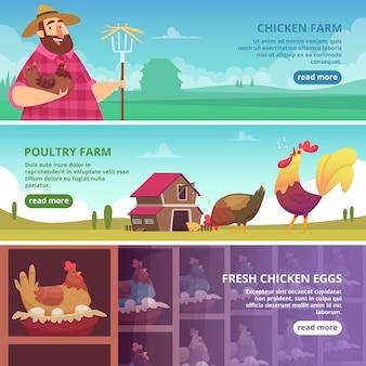 Banners voor kippenboerderijen. boer fokken eco gedomesticeerde vogels verse eieren hanen en kippen