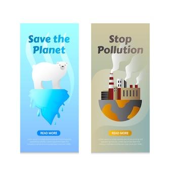 Banners voor klimaatverandering met kleurovergang