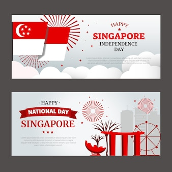 Banners voor nationale feestdag in singapore