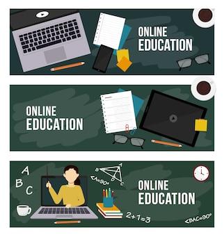 Banners voor online onderwijs, webonderwijs, weblessen