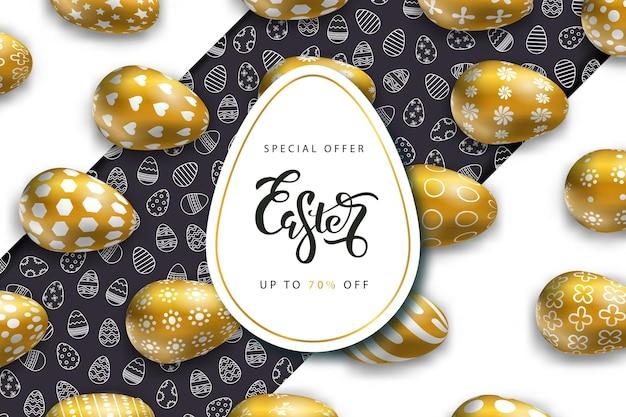 Banners voor pasen met gouden eieren. concept van vrolijk pasen.