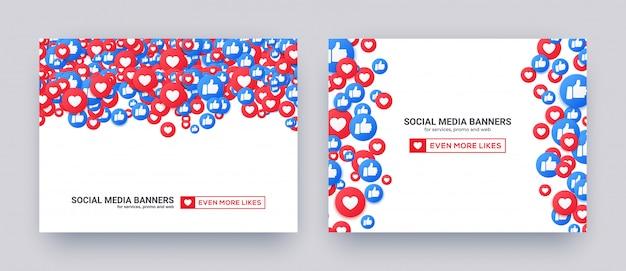 Banners voor sociale media met soortgelijke harten en duim omhoog pictogrammen.